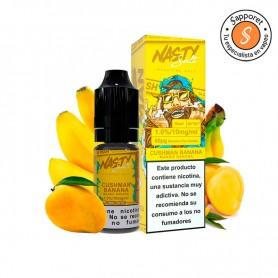Sales de nicotina con delicioso sabor a mango maduro con platano ideal para cualquier epoca del año.