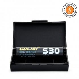 Golisi - 1x Batería S30 18650 3000mAh 25A estuche de regalo