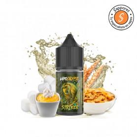striker será tu sabor dulce favorito en cigarrillo electrónico. Natillas de vainilla con nubes y cereales para tu vapeo diario.