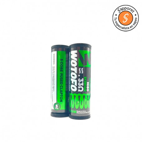 5 Core fused clapton de Wotofo es la resistencia prefabricada por excelencia ideal para tus atomizadores reparables.