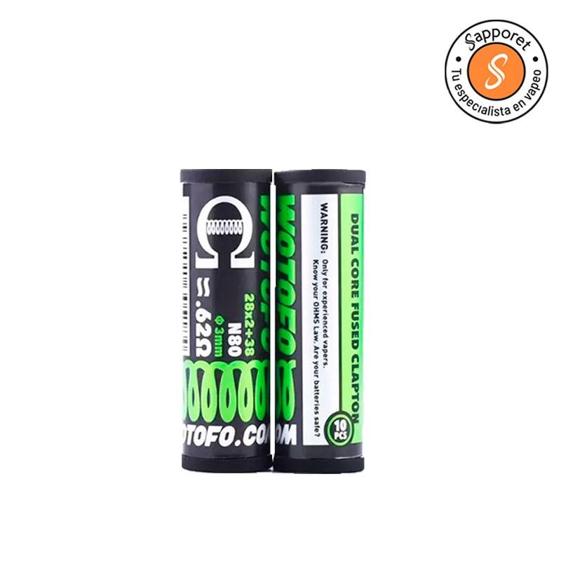 dual core fused clapton de wotofo es una resistencia prefabricada ideal para tus atomizadores reparables