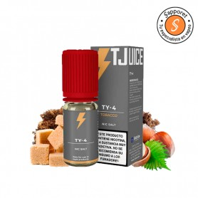 ty-4 salt de t Juice es un magnífico tabaquil con nueces y caramelo para que lo disfrutes en tu vapeo diario.